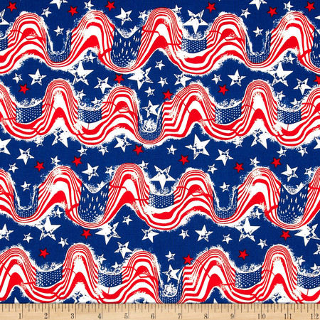 Stars & Stripes II Waving Flags & Stars Red/White/Blue Fabric By The Yard