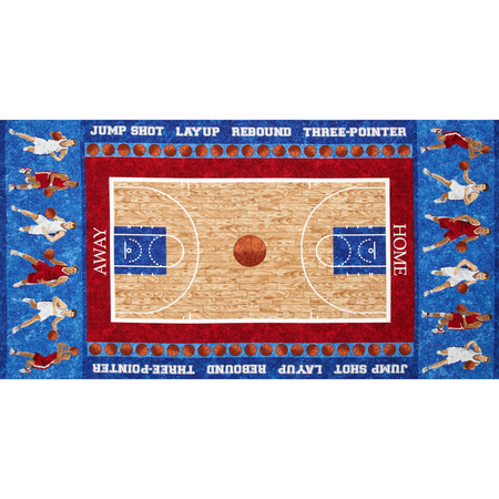 Stonehenge Kids Hoops Basketball Players 24 In. Panel Blue Fabric