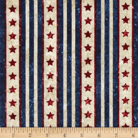 Stonehenge Stars & Stripes II Tonal Stars Navy Fabric