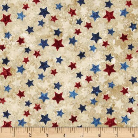Stonehenge Stars & Stripes II Tossed Stars Tan/Multi Fabric