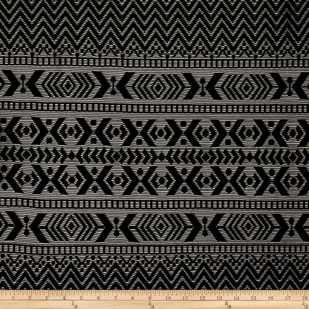 Stretch Crochet Lace Chevron Aztec Stripe Black Fabric By The Yard