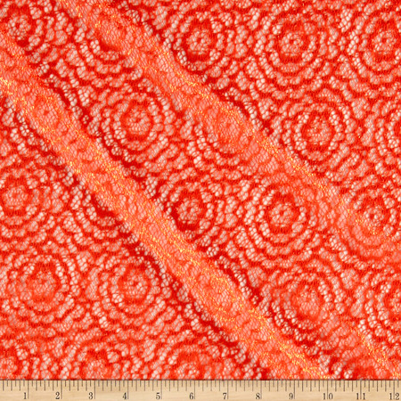 Stretch Crochet Lace Coral Fabric