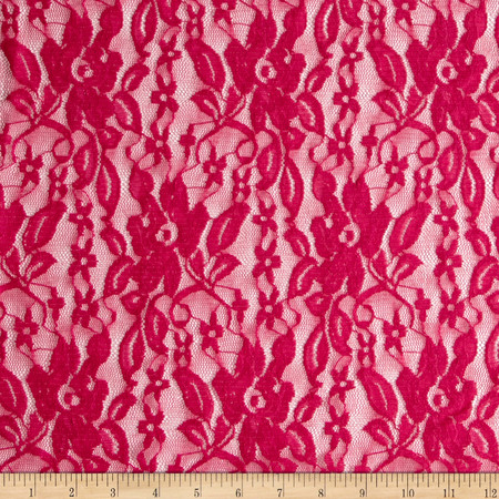 Stretch Floral Lace Fuchsia Fabric By The Yard