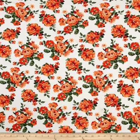 Stretch Floral Print Jersey Knit Orange Fabric