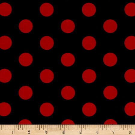 Stretch ITY Jersey Knit Dot Black and Red  Fabric By The Yard