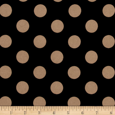 Stretch ITY Jersey Knit Dot Black and Taupe Fabric By The Yard