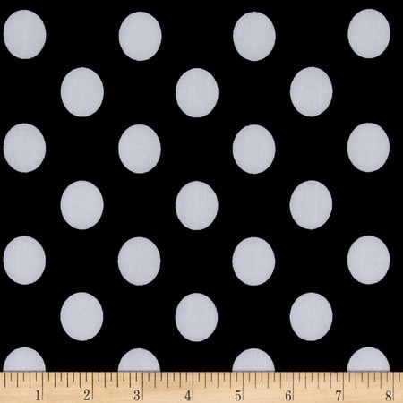 Stretch ITY Jersey Knit Dot Black and White Fabric By The Yard