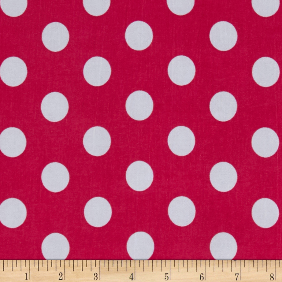 Stretch ITY Jersey Knit Dot Fuchsia and White  Fabric By The Yard