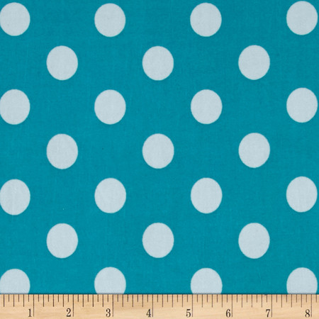 Stretch ITY Jersey Knit Dot Jade and White Fabric By The Yard