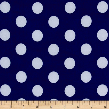 Stretch ITY Jersey Knit Dot Royal and White  Fabric By The Yard