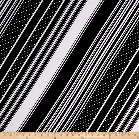 Stretch ITY Jersey Knit Dots and Stripes Black and White Fabric By The Yard