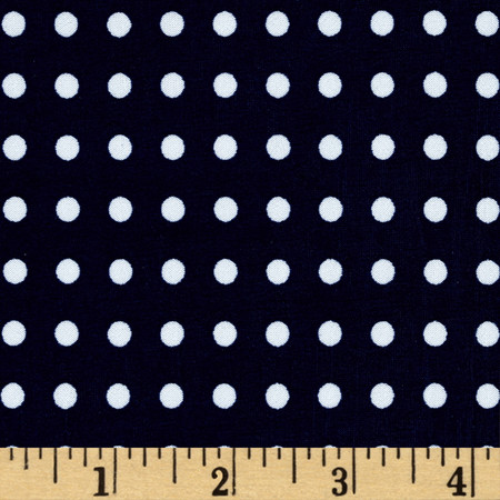 Stretch ITY Jersey Knit Micro Dot Navy and White Fabric By The Yard