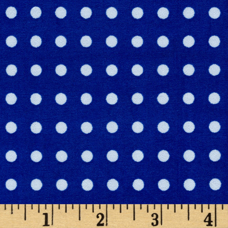 Stretch ITY Jersey Knit Micro Dot Royal and White  Fabric By The Yard