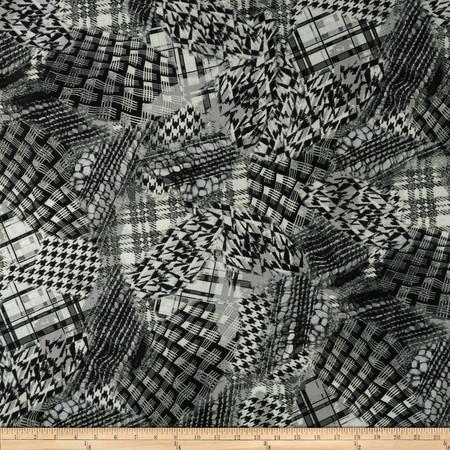 Stretch ITY Jersey Knit Pattern Mix Grey/Black/White Fabric