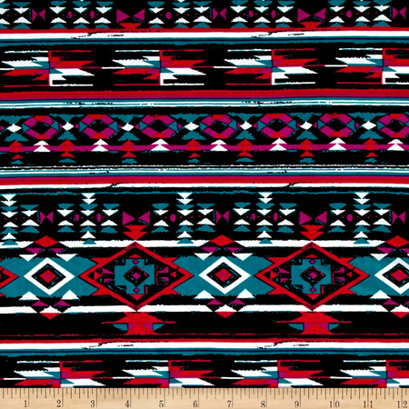 Stretch ITY Knit Aztec Print Red/Black/Jade Fabric By The Yard