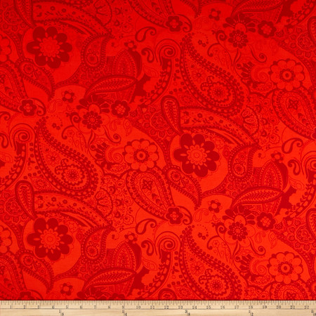Stretch ITY Knit Paisley Red/Orange Fabric By The Yard