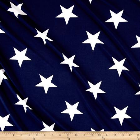 Stretch ITY Knit Star Print Navy & White Fabric