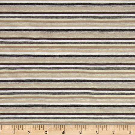 Stretch Jersey Knit Yarn Dye Stripes Brown/Grey Fabric