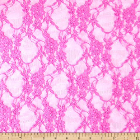 Stretch Lace Floral Neon Pink Fabric By The Yard
