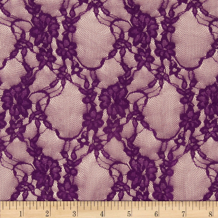 Stretch Lace L/Plum Fabric By The Yard