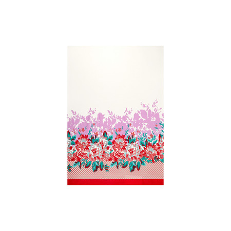 Stretch Poplin Print Double Border Floral Coral Fabric By The Yard