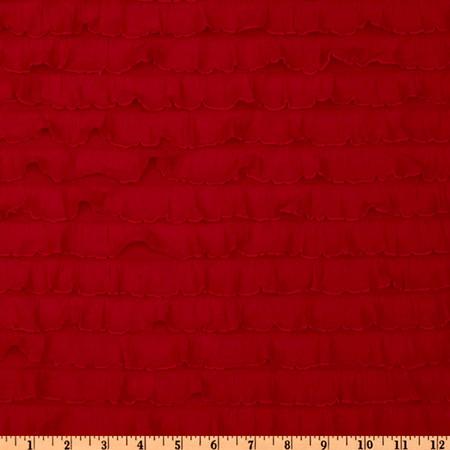 Stretch Ruffle Knit Red Fabric