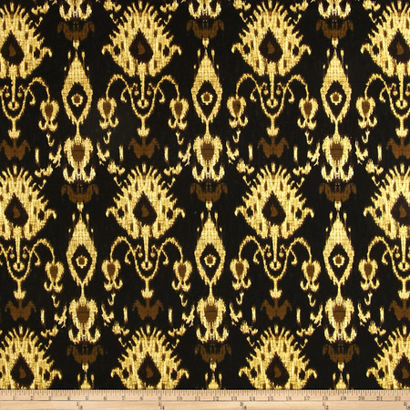 Stretch Twill Print Gold Ikat Fabric By The Yard
