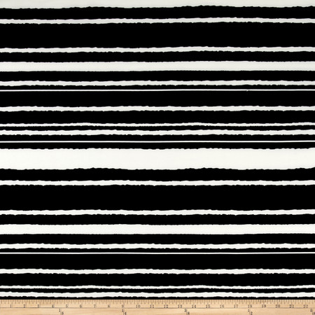 Stripe Span Techno Scuba Knit Ivory/Black Fabric By The Yard