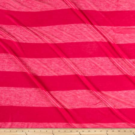 Striped Sweater Knit Dark Deep Pink Fabric