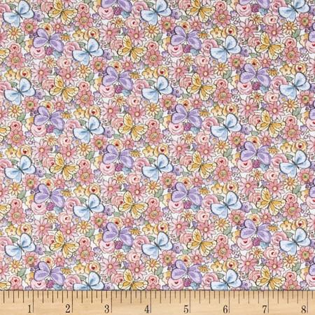 Sunbonnet Emma & Friends Butterflies & Flowers Blue Fabric By The Yard