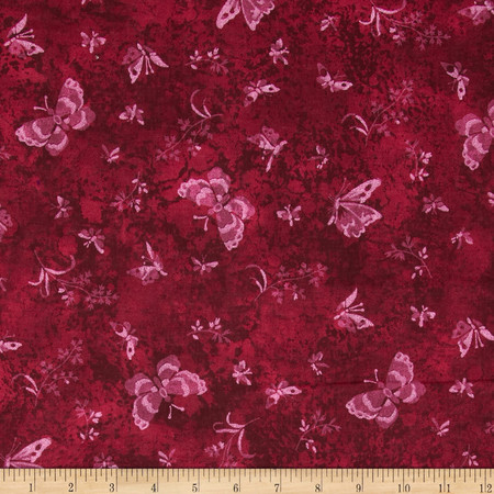 Sundrenched Butterflies Maroon/Pink Fabric