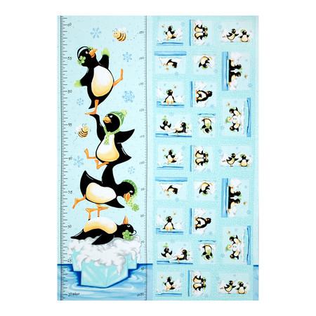 Susybee Gwyn the Penguin Gwyn Growth Chart 36 In. Panel Aqua Fabric By The Yard