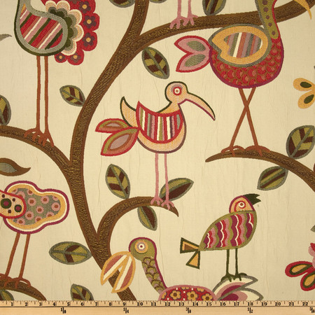 Swavelle/Mill Creek Crazy Ol' Bird Jacquard Sunrise Fabric By The Yard
