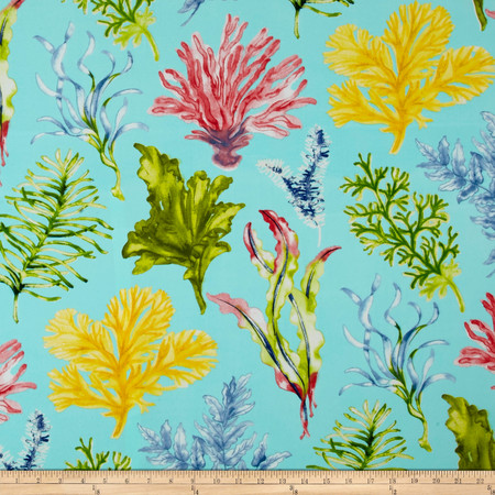 Swavelle/Mill Creek Indoor/Outdoor Jeju Screen Aqua Fabric By The Yard