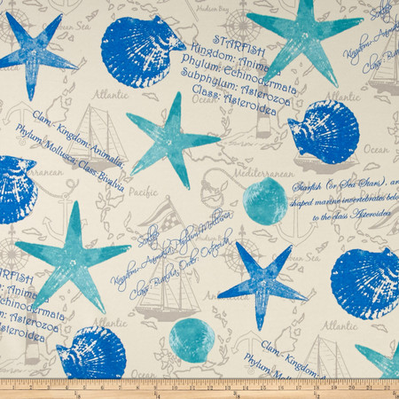 Swavelle/Mill Creek Indoor/Outdoor Shells and Things Ocean Fabric By The Yard