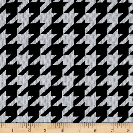 Sweater Knit Houndstooth Black/White Fabric