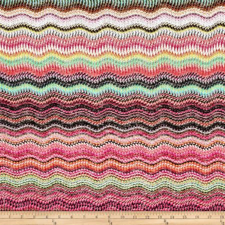 Sweater Knit Wave Pattern Fuchsia/Pink/Green Fabric By The Yard