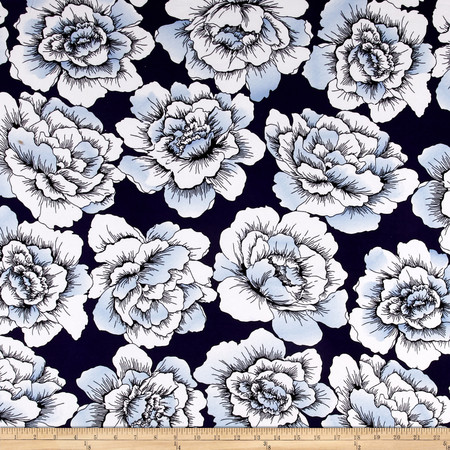 Sweet Blooms Stretch ITY Jersey Knit Navy/Powder Blue Fabric By The Yard