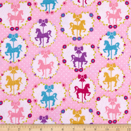 Sweet Horse Carousel Flannel Pink Fabric By The Yard