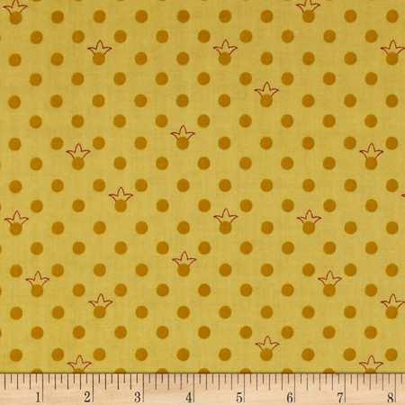 Sweet Princess Crown Dots Green Fabric By The Yard