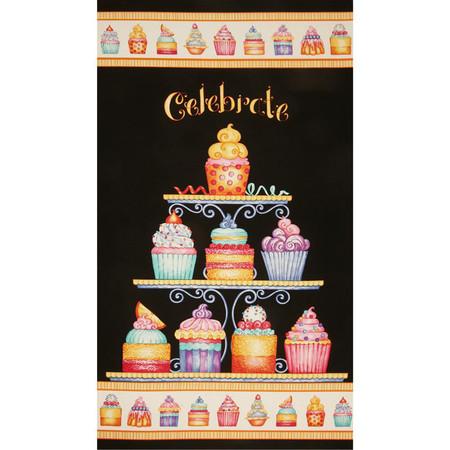 Sweet Things 24'' Cupcakes Panel Black/Multi Fabric