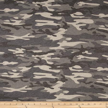 T-Shirt Jersey Knit Camoflauge Grey Fabric By The Yard