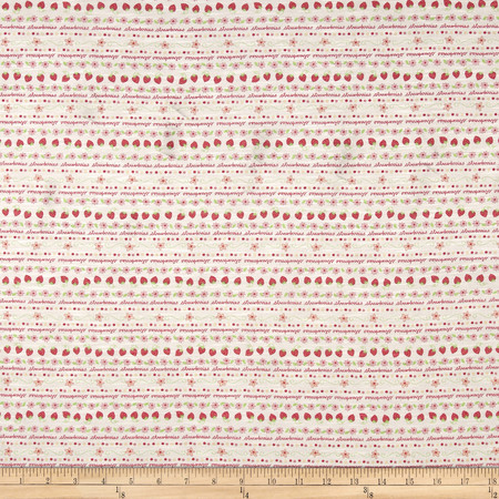 T-Shirt Jersey Knit Strawberry Fields Red Green Fabric By The Yard