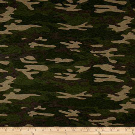 T-Shirt Knit Camoflauge Green Grey Fabric By The Yard