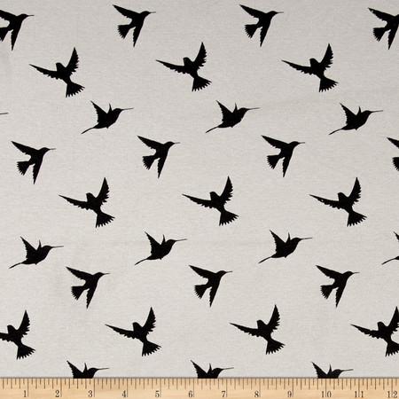 T-Shirt Rib Knit Soaring Birds Black Fabric By The Yard