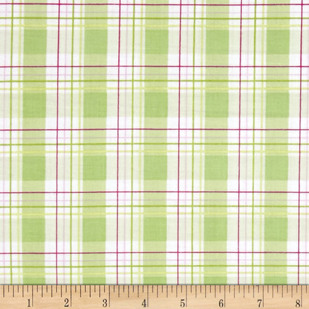 Tanya Whelan Zoey's Garden Faux Plaid Green Fabric By The Yard