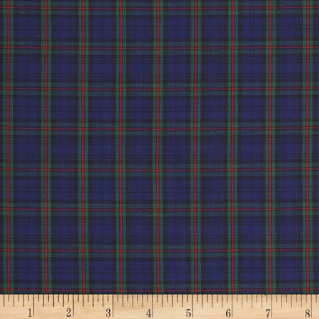 Tartan Plaid Navy/Green/Red Fabric By The Yard