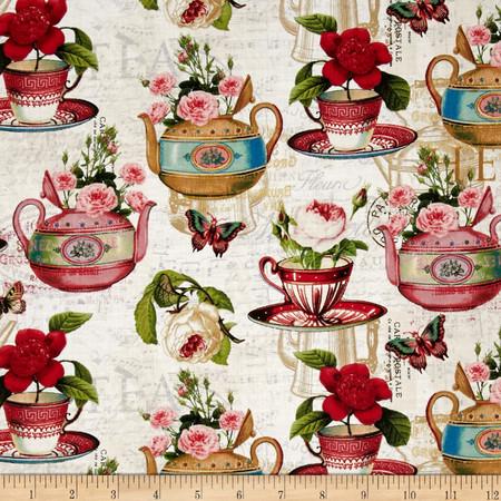 Tea Pot Flora Tea & Music Cream/Multi Fabric