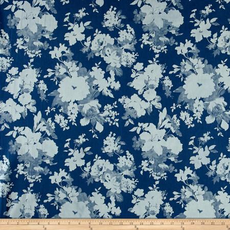 Telio Denim Flower Print Light Blue Fabric By The Yard