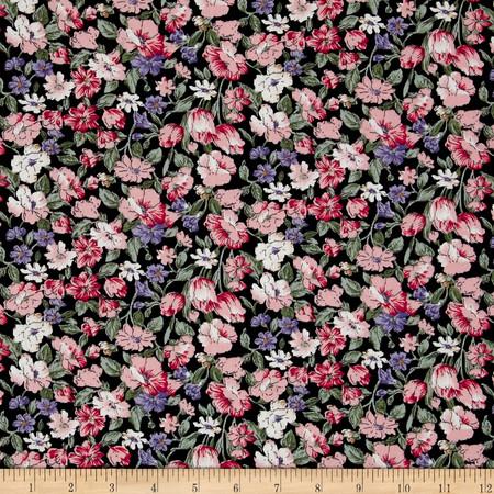 Telio Hampton Court Cotton Shirting Floral Print Black/Pink Fabric By The Yard